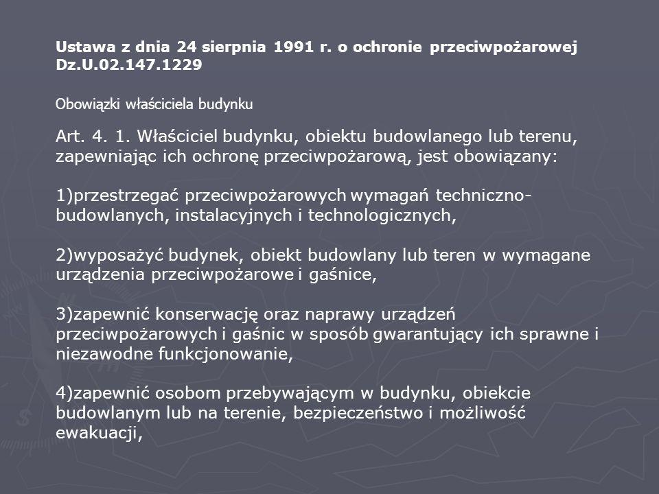 Ustawa z dnia 24 sierpnia 1991 r. o ochronie przeciwpożarowej Dz.U.02.147.1229
