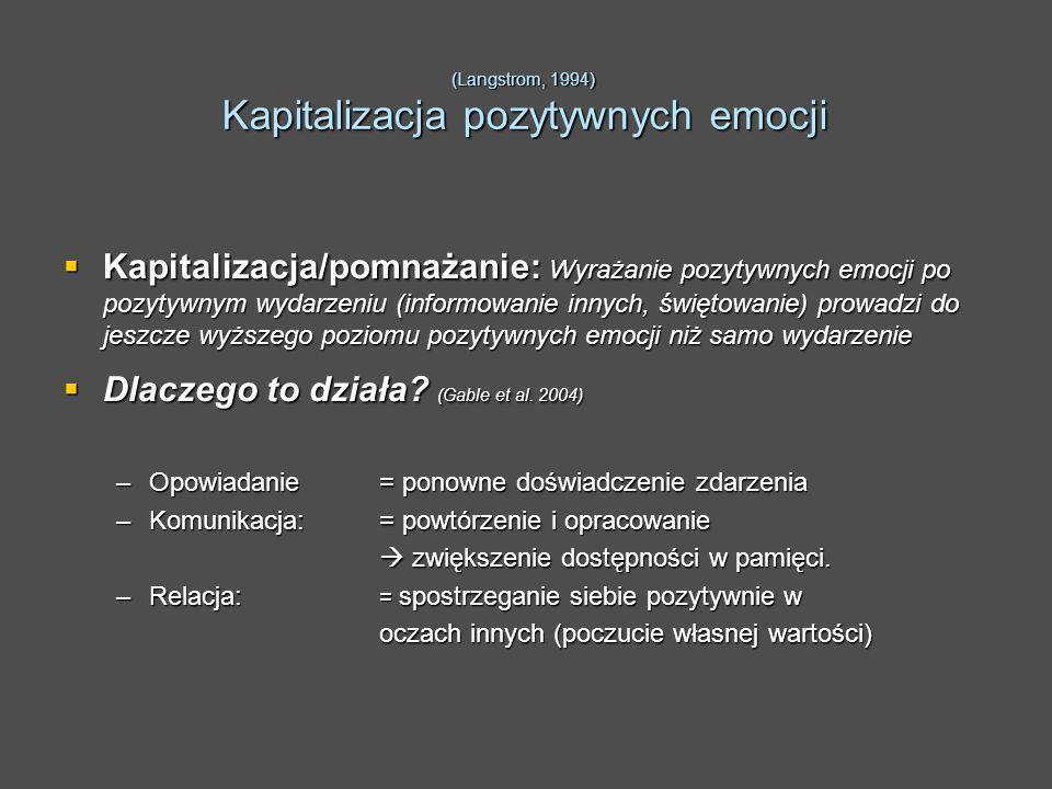 (Langstrom, 1994) Kapitalizacja pozytywnych emocji