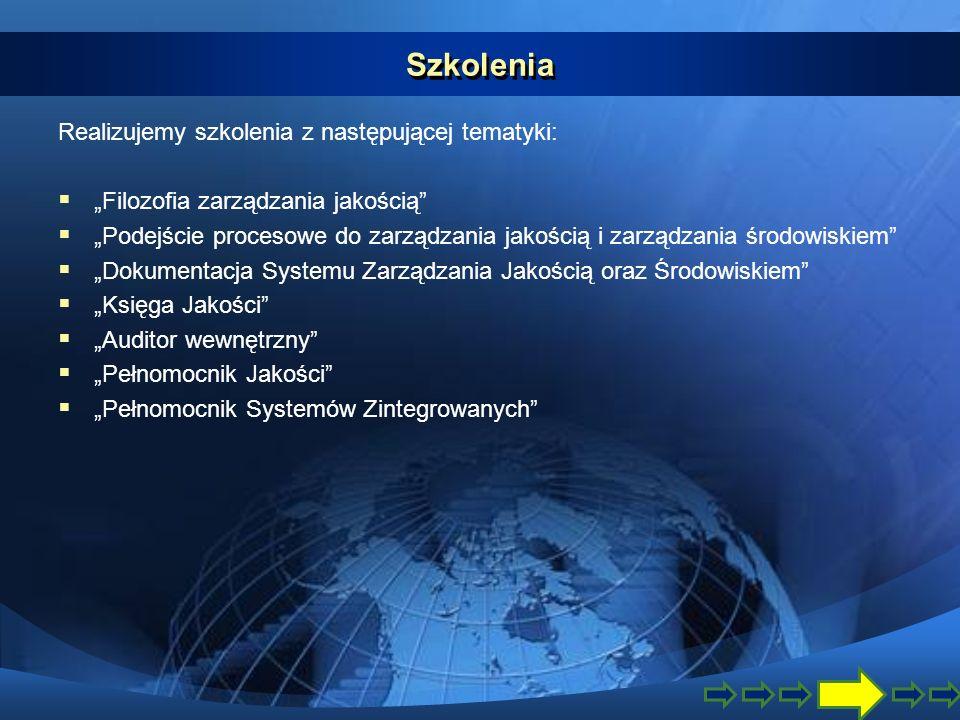 Szkolenia Realizujemy szkolenia z następującej tematyki: