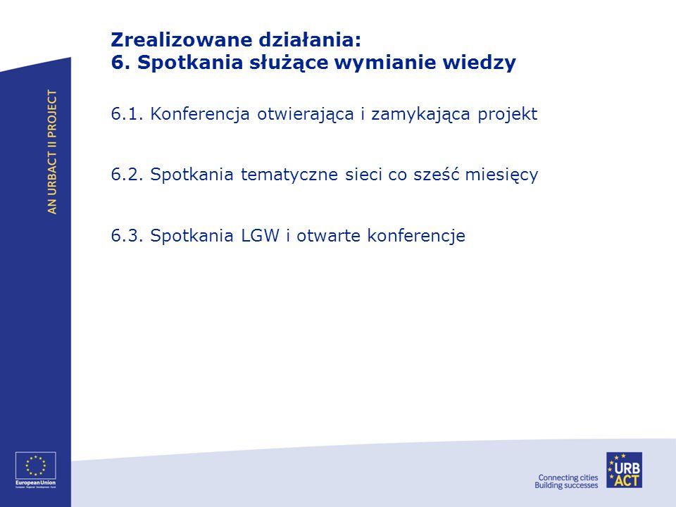 Zrealizowane działania: 6. Spotkania służące wymianie wiedzy