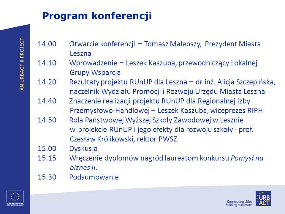 Program konferencji 14.00 Otwarcie konferencji – Tomasz Malepszy, Prezydent Miasta. Leszna.