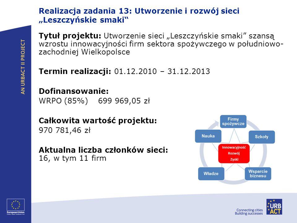 """Realizacja zadania 13: Utworzenie i rozwój sieci """"Leszczyńskie smaki"""