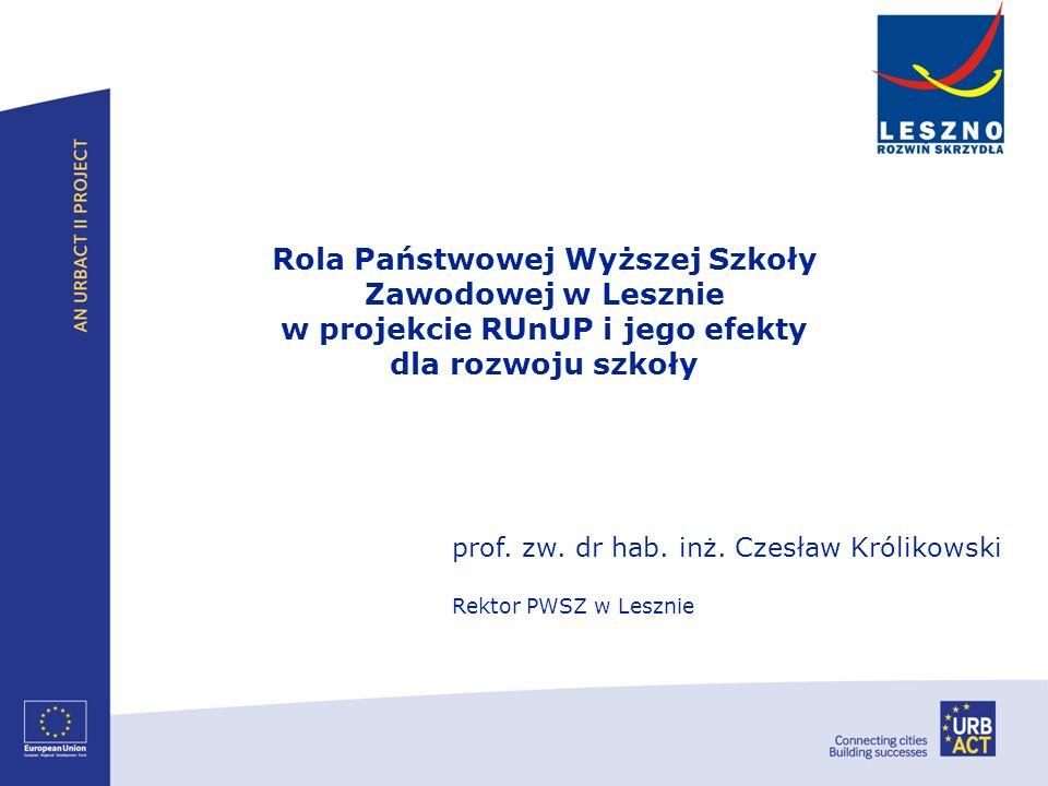 Rola Państwowej Wyższej Szkoły Zawodowej w Lesznie w projekcie RUnUP i jego efekty dla rozwoju szkoły