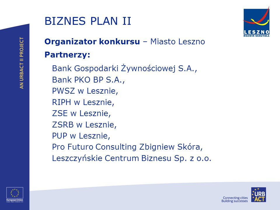 BIZNES PLAN II Bank Gospodarki Żywnościowej S.A.,