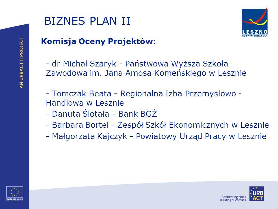 BIZNES PLAN II Komisja Oceny Projektów: