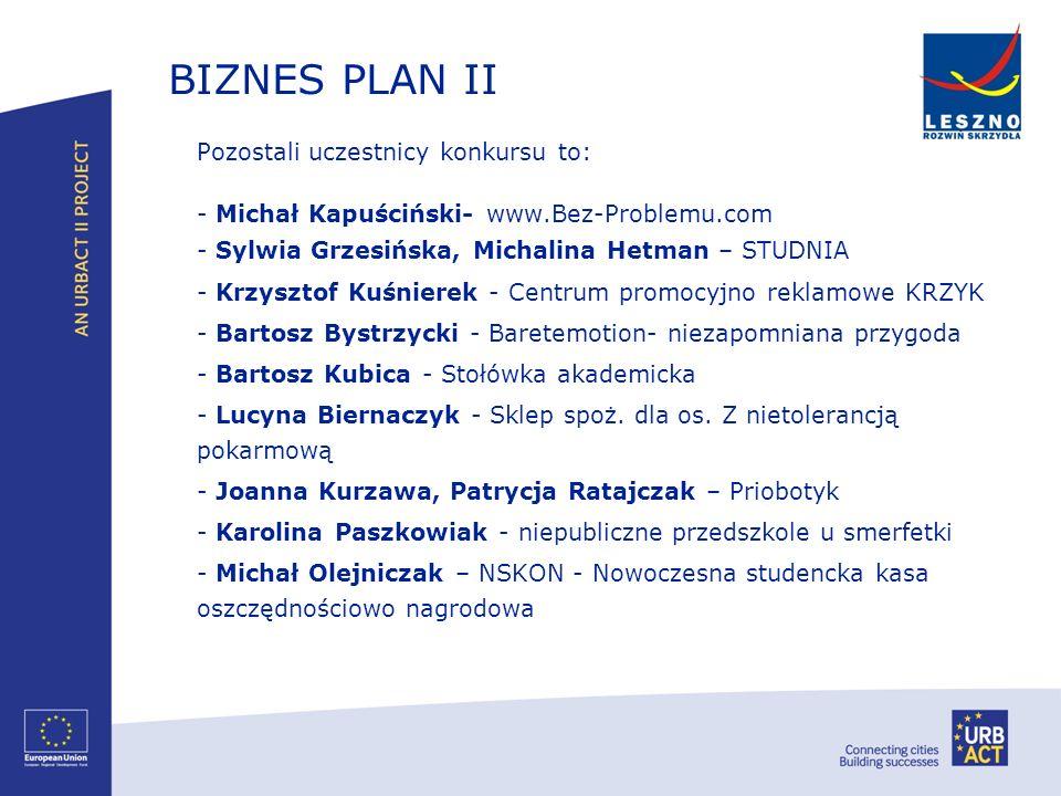 BIZNES PLAN II Pozostali uczestnicy konkursu to: