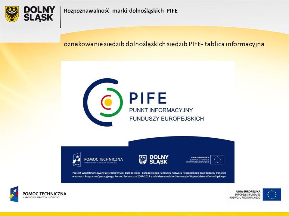 oznakowanie siedzib dolnośląskich siedzib PIFE- tablica informacyjna