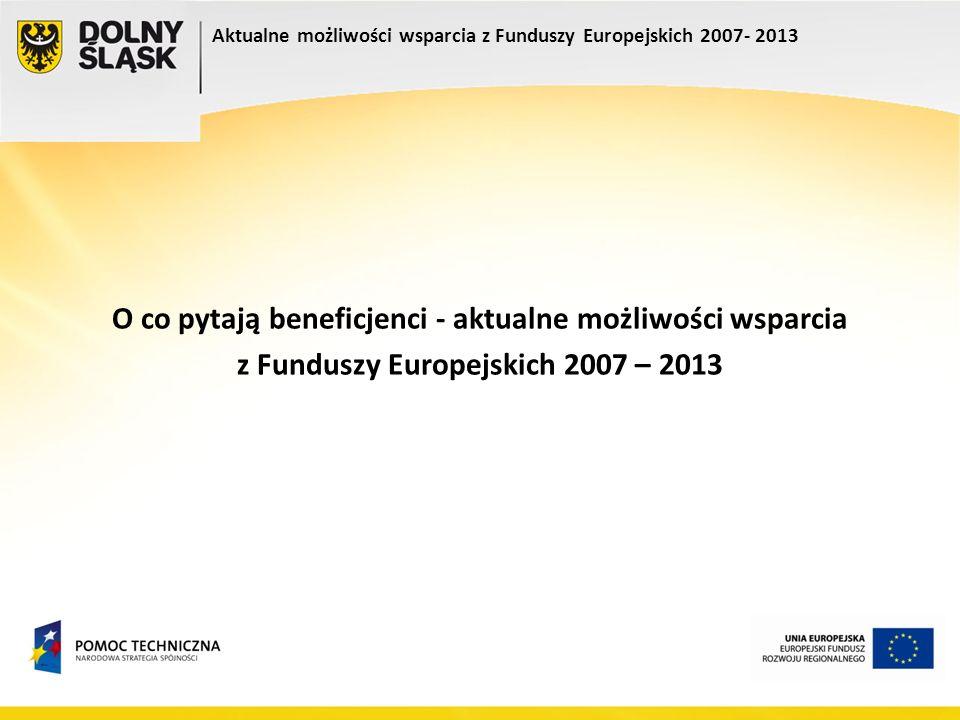 Aktualne możliwości wsparcia z Funduszy Europejskich 2007- 2013