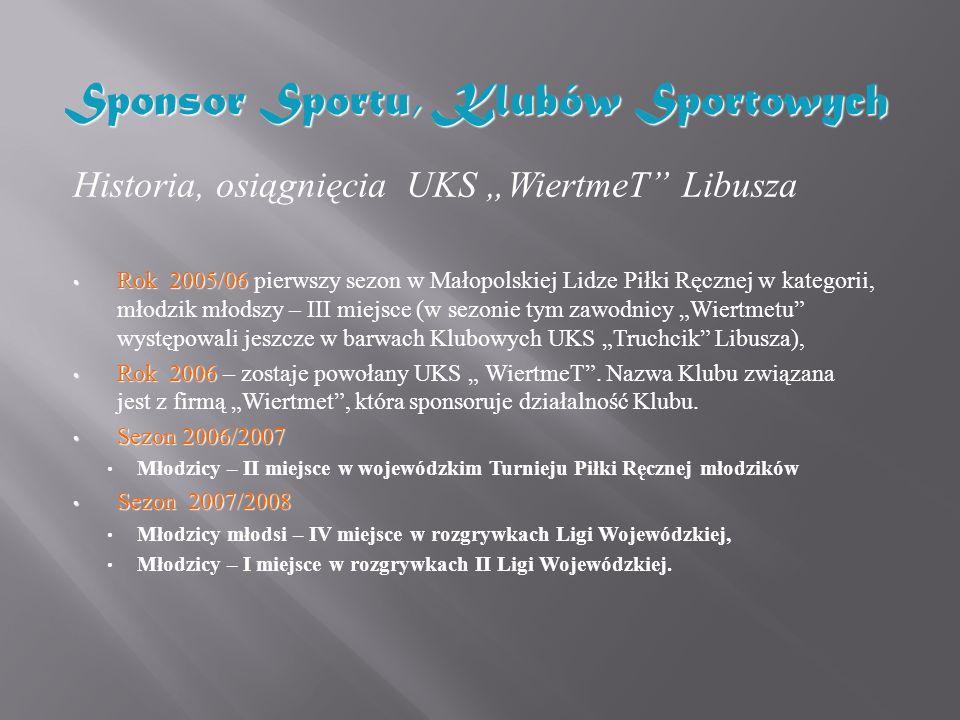 Sponsor Sportu, Klubów Sportowych