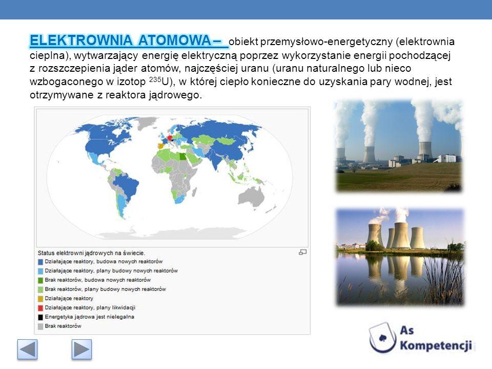 ELEKTROWNIA ATOMOWA – obiekt przemysłowo-energetyczny (elektrownia cieplna), wytwarzający energię elektryczną poprzez wykorzystanie energii pochodzącej z rozszczepienia jąder atomów, najczęściej uranu (uranu naturalnego lub nieco wzbogaconego w izotop 235U), w której ciepło konieczne do uzyskania pary wodnej, jest otrzymywane z reaktora jądrowego.
