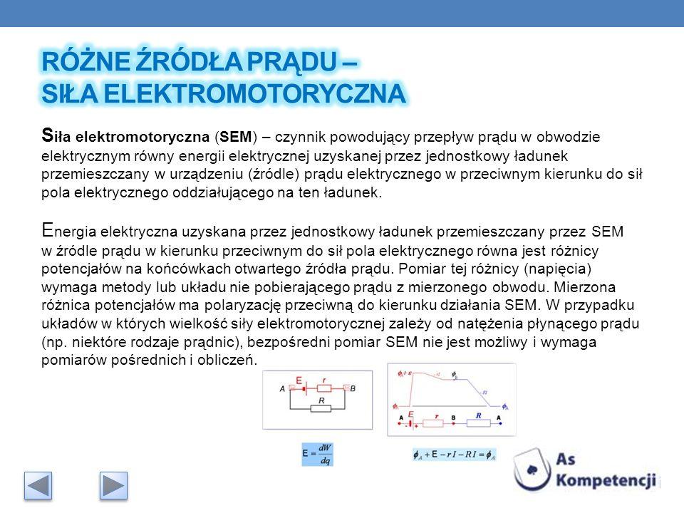 Różne źródła prądu – siła elektromotoryczna