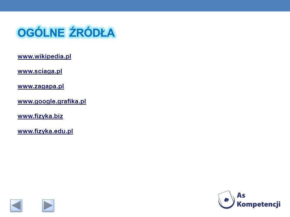 OGÓLNE ŹRÓDŁA www.wikipedia.pl www.sciaga.pl www.zagapa.pl www.google.grafika.pl www.fizyka.biz www.fizyka.edu.pl