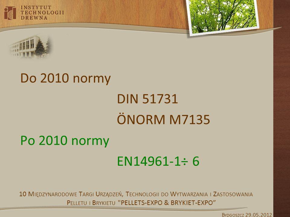Do 2010 normy DIN 51731 ÖNORM M7135 Po 2010 normy EN14961-1÷ 6