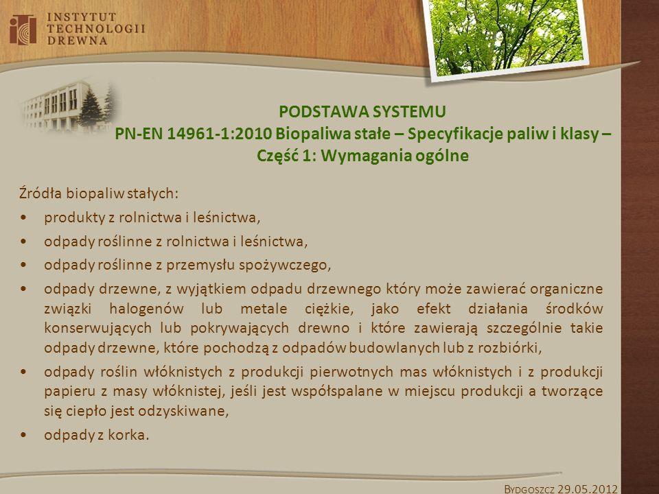 PODSTAWA SYSTEMU PN-EN 14961-1:2010 Biopaliwa stałe – Specyfikacje paliw i klasy – Część 1: Wymagania ogólne