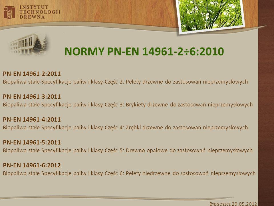 NORMY PN-EN 14961-2÷6:2010 PN-EN 14961-2:2011 PN-EN 14961-3:2011