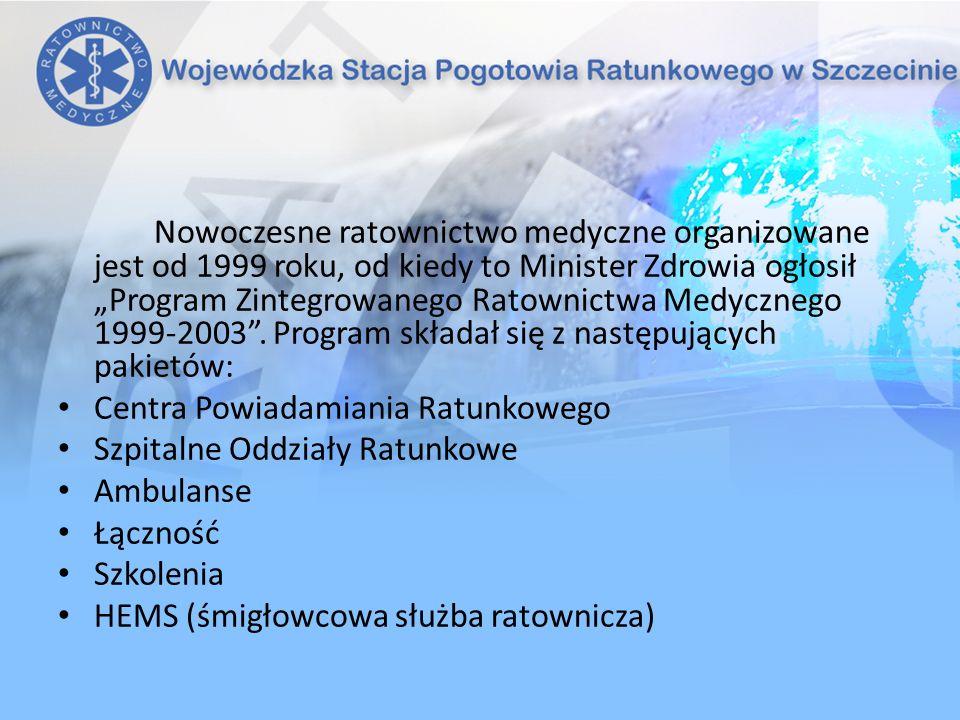 """Nowoczesne ratownictwo medyczne organizowane jest od 1999 roku, od kiedy to Minister Zdrowia ogłosił """"Program Zintegrowanego Ratownictwa Medycznego 1999-2003 . Program składał się z następujących pakietów:"""