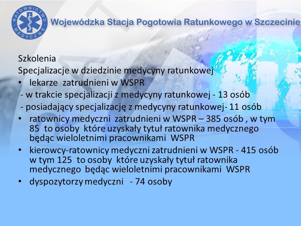 Szkolenia Specjalizacje w dziedzinie medycyny ratunkowej. lekarze zatrudnieni w WSPR. - w trakcie specjalizacji z medycyny ratunkowej - 13 osób.