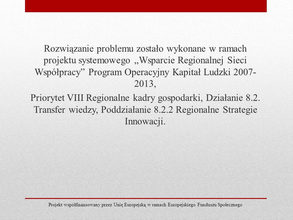"""Rozwiązanie problemu zostało wykonane w ramach projektu systemowego """"Wsparcie Regionalnej Sieci Współpracy Program Operacyjny Kapitał Ludzki 2007-2013, Priorytet VIII Regionalne kadry gospodarki, Działanie 8.2. Transfer wiedzy, Poddziałanie 8.2.2 Regionalne Strategie Innowacji."""