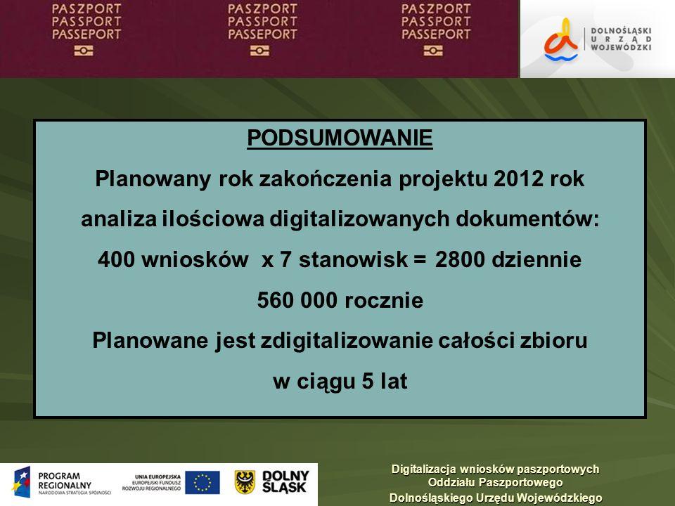 Planowany rok zakończenia projektu 2012 rok
