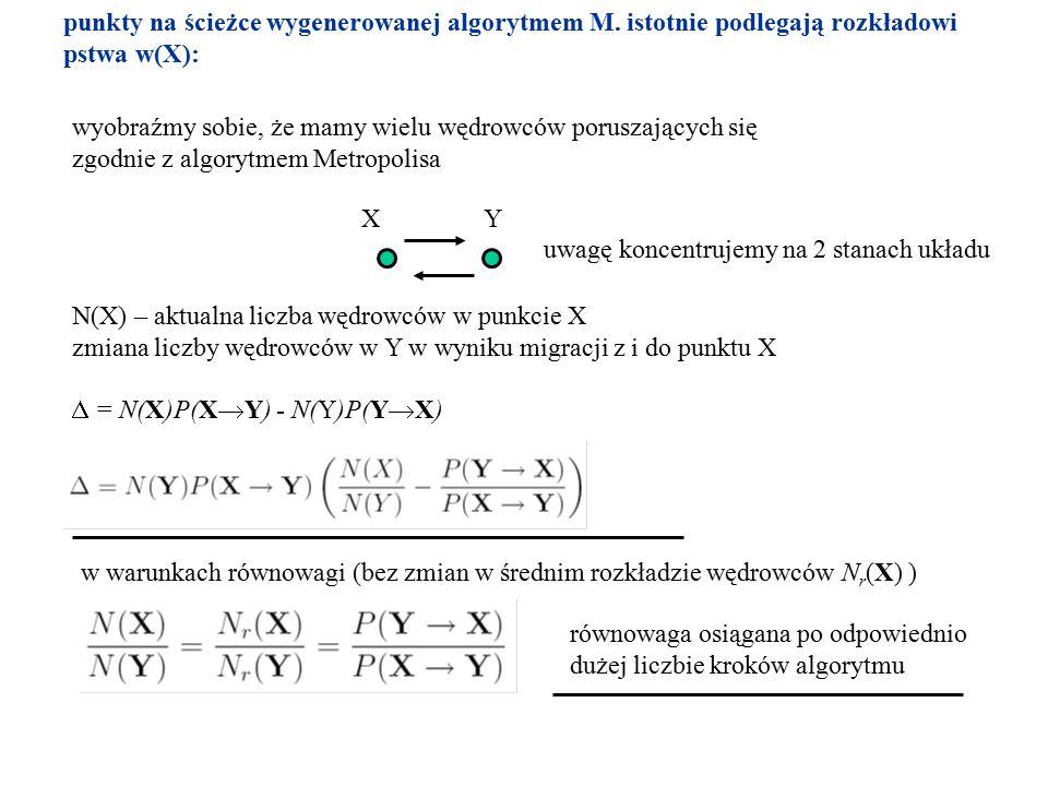 punkty na ścieżce wygenerowanej algorytmem M