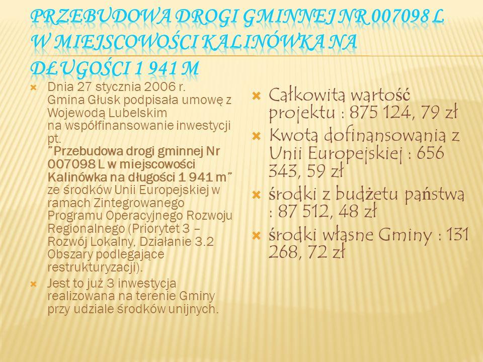 Przebudowa drogi gminnej Nr 007098 L w miejscowości Kalinówka na długości 1 941 m