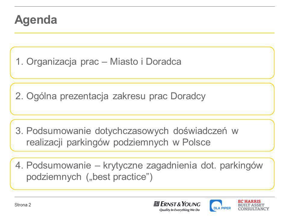 Agenda Organizacja prac – Miasto i Doradca