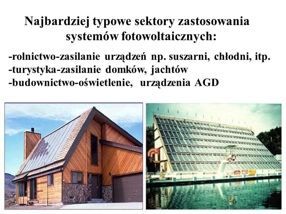 Najbardziej typowe sektory zastosowania systemów fotowoltaicznych: -rolnictwo-zasilanie urządzeń np.