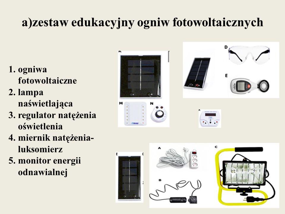 a)zestaw edukacyjny ogniw fotowoltaicznych