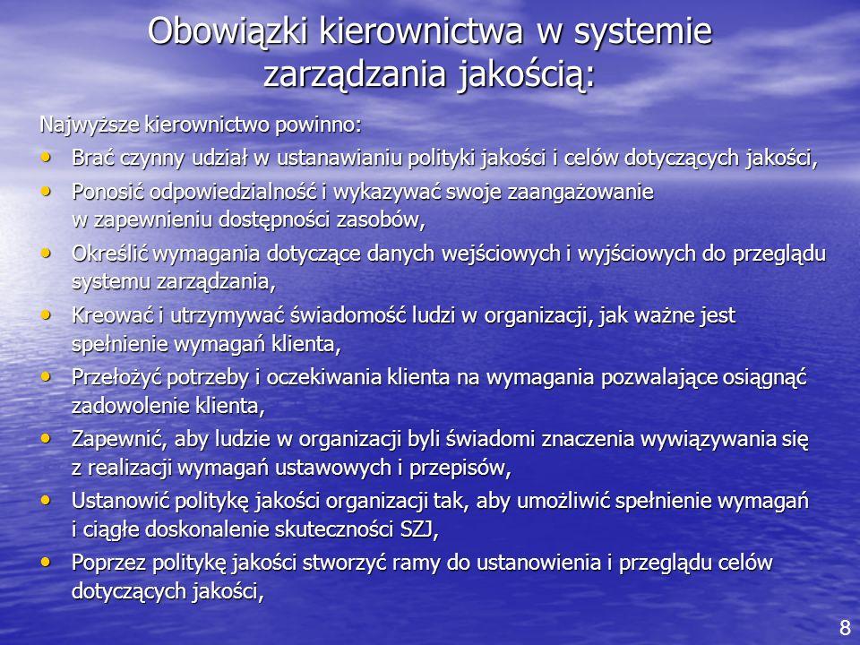 Obowiązki kierownictwa w systemie zarządzania jakością: