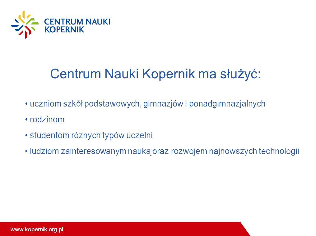 Centrum Nauki Kopernik ma służyć: