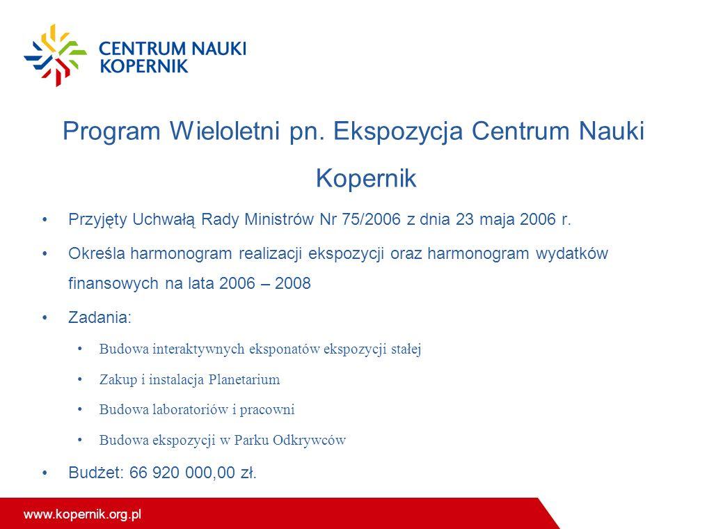Program Wieloletni pn. Ekspozycja Centrum Nauki Kopernik
