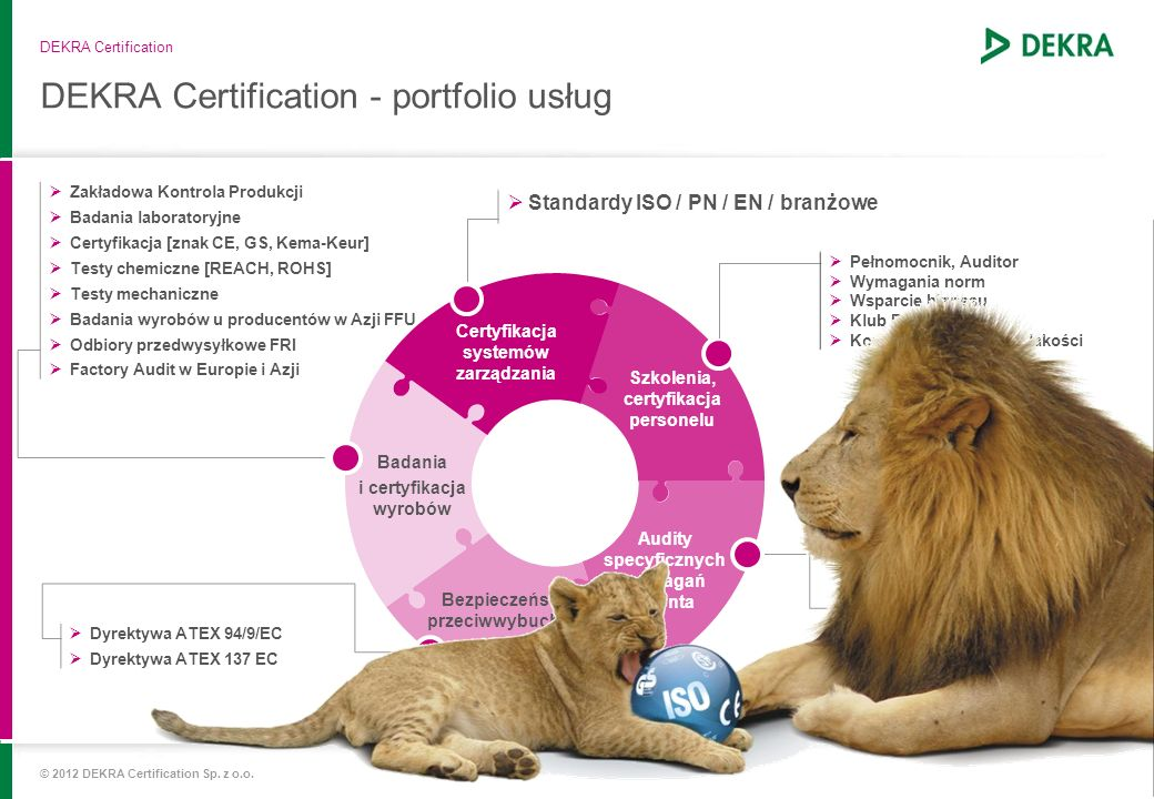 DEKRA Certification - portfolio usług