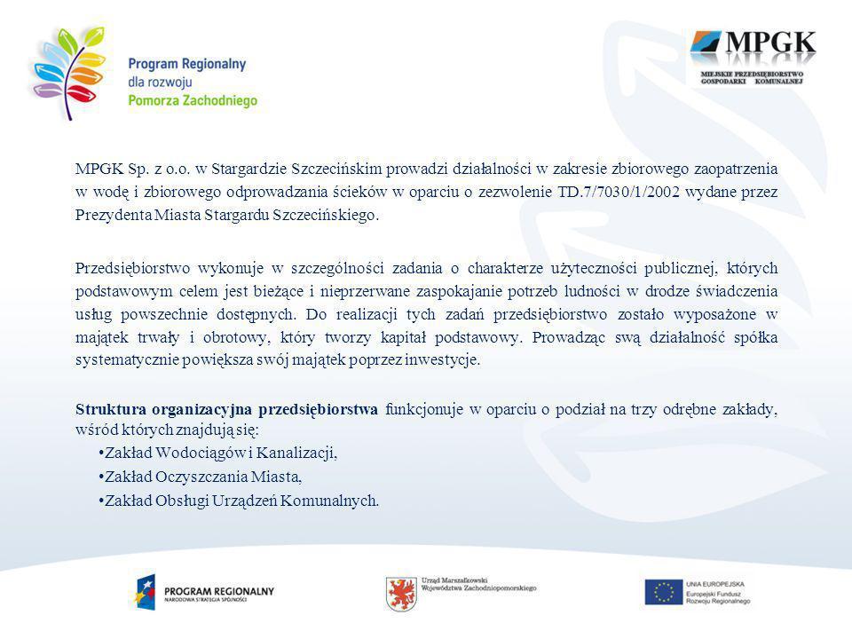 MPGK Sp. z o.o. w Stargardzie Szczecińskim prowadzi działalności w zakresie zbiorowego zaopatrzenia w wodę i zbiorowego odprowadzania ścieków w oparciu o zezwolenie TD.7/7030/1/2002 wydane przez Prezydenta Miasta Stargardu Szczecińskiego.