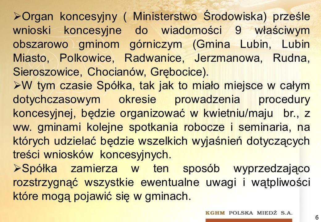 Organ koncesyjny ( Ministerstwo Środowiska) prześle wnioski koncesyjne do wiadomości 9 właściwym obszarowo gminom górniczym (Gmina Lubin, Lubin Miasto, Polkowice, Radwanice, Jerzmanowa, Rudna, Sieroszowice, Chocianów, Grębocice).