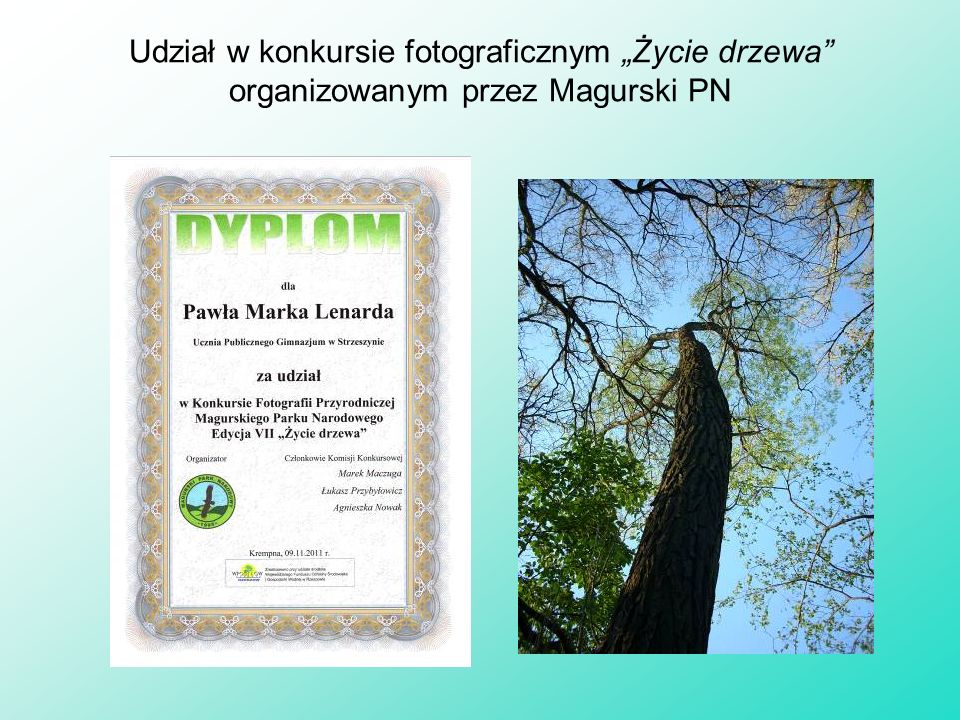 """Udział w konkursie fotograficznym """"Życie drzewa organizowanym przez Magurski PN"""