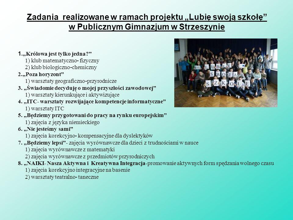 """Zadania realizowane w ramach projektu """"Lubię swoją szkołę w Publicznym Gimnazjum w Strzeszynie"""