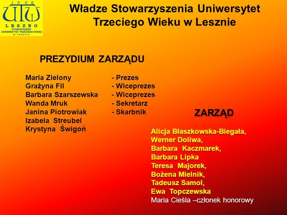 Władze Stowarzyszenia Uniwersytet Trzeciego Wieku w Lesznie
