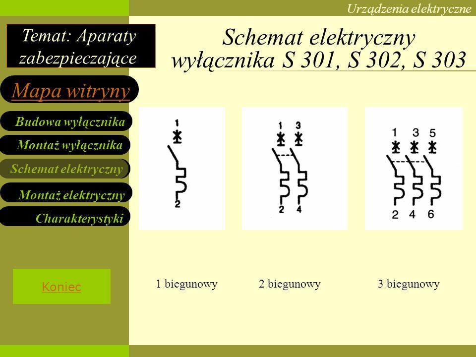 Schemat elektryczny wyłącznika S 301, S 302, S 303