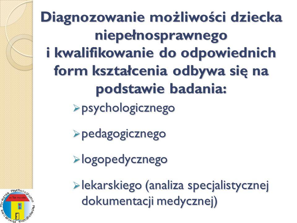 Diagnozowanie możliwości dziecka niepełnosprawnego i kwalifikowanie do odpowiednich form kształcenia odbywa się na podstawie badania: