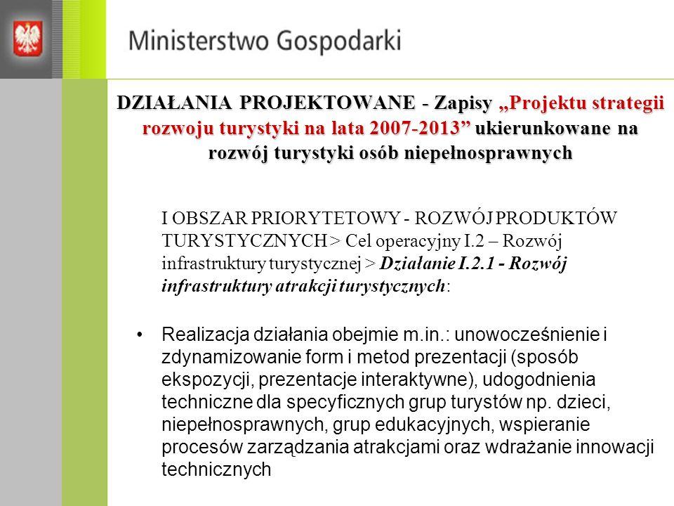 """DZIAŁANIA PROJEKTOWANE - Zapisy """"Projektu strategii rozwoju turystyki na lata 2007-2013 ukierunkowane na rozwój turystyki osób niepełnosprawnych"""