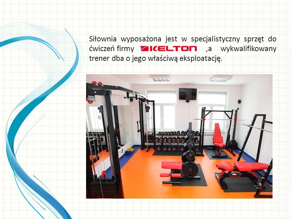 Siłownia wyposażona jest w specjalistyczny sprzęt do ćwiczeń firmy