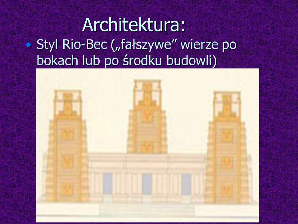 """Architektura: Styl Rio-Bec (""""fałszywe wierze po bokach lub po środku budowli)"""