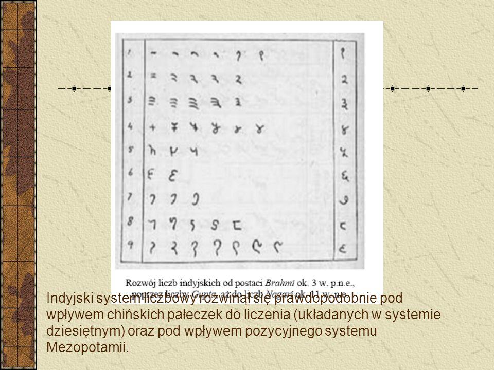 Indyjski system liczbowy rozwinął się prawdopodobnie pod wpływem chińskich pałeczek do liczenia (układanych w systemie dziesiętnym) oraz pod wpływem pozycyjnego systemu Mezopotamii.