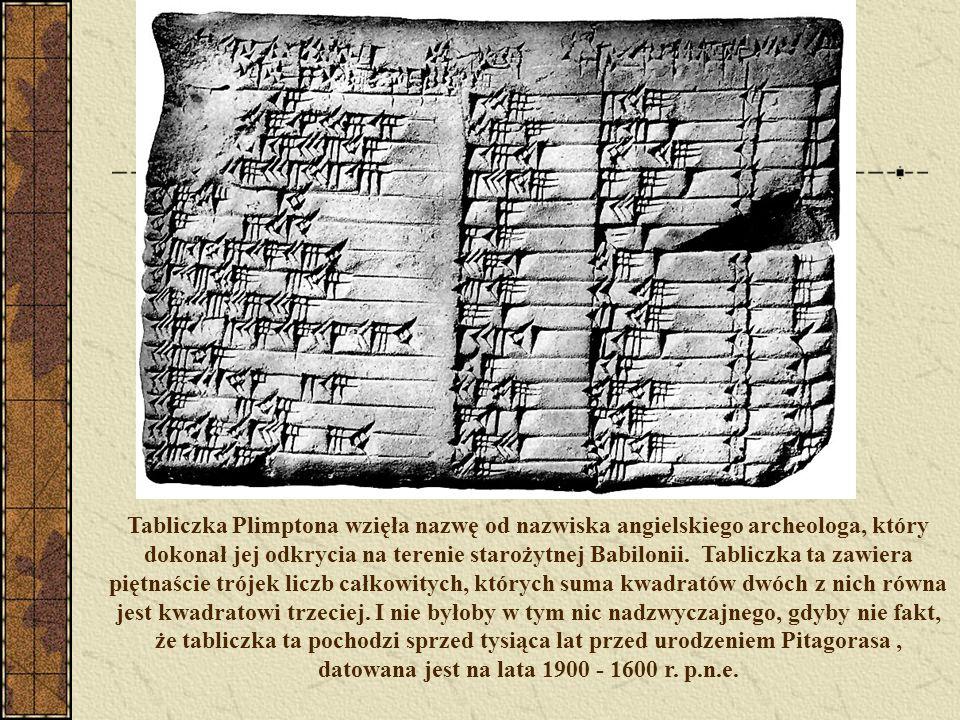 Tabliczka Plimptona wzięła nazwę od nazwiska angielskiego archeologa, który dokonał jej odkrycia na terenie starożytnej Babilonii.