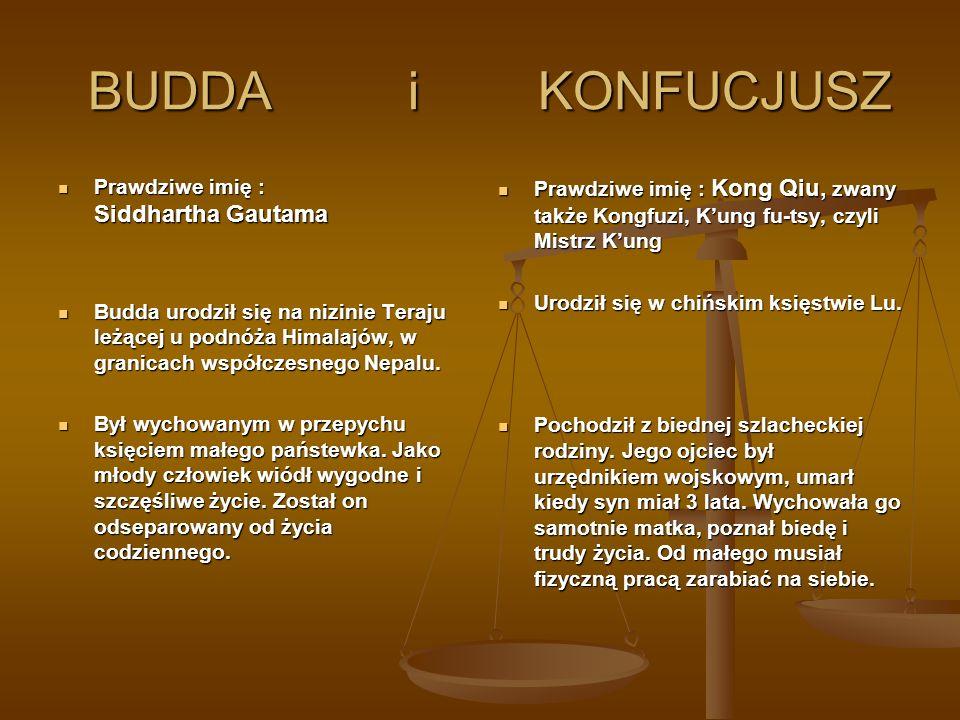 BUDDA i KONFUCJUSZ Prawdziwe imię : Siddhartha Gautama