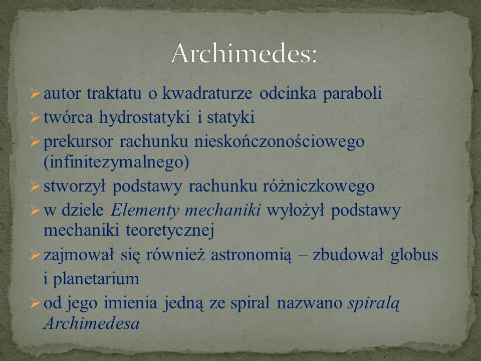 Archimedes: autor traktatu o kwadraturze odcinka paraboli