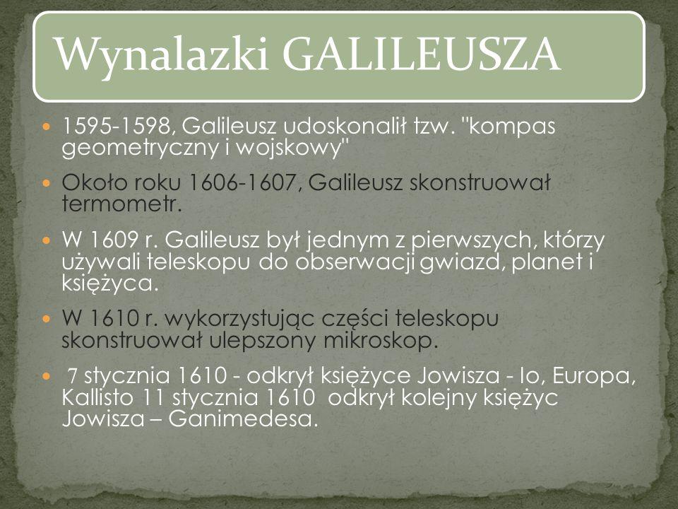 1595-1598, Galileusz udoskonalił tzw. kompas geometryczny i wojskowy