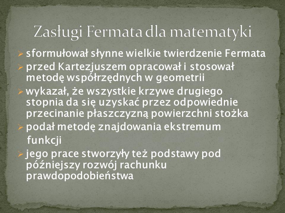 Zasługi Fermata dla matematyki