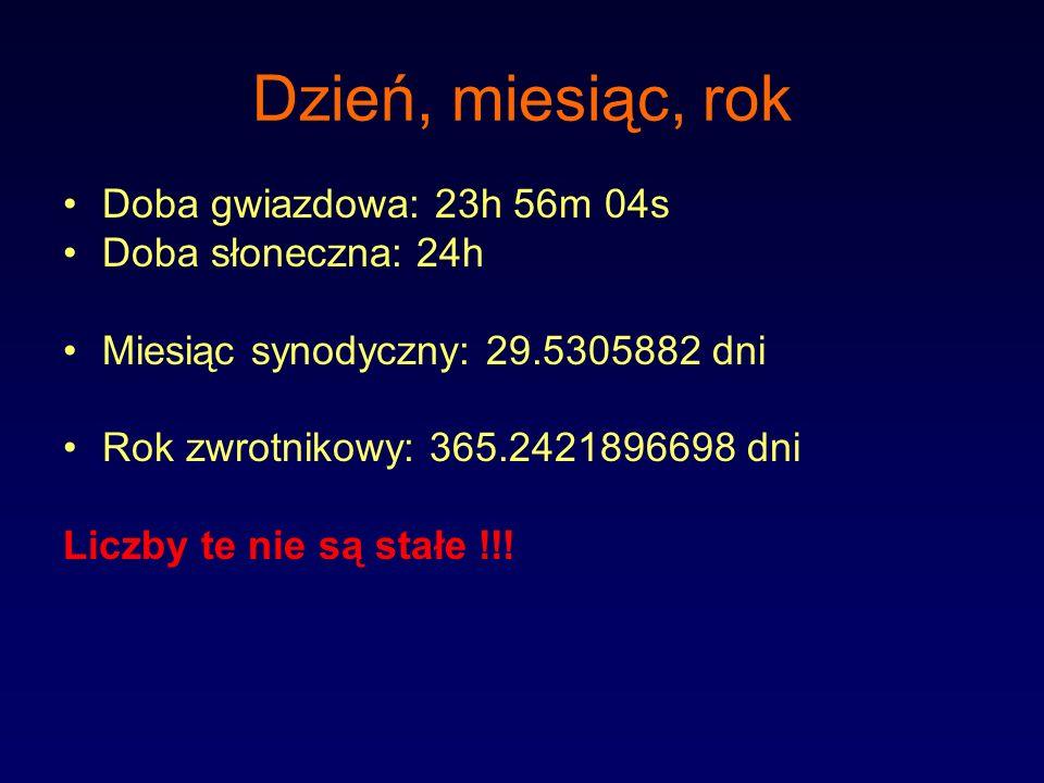Dzień, miesiąc, rok Doba gwiazdowa: 23h 56m 04s Doba słoneczna: 24h