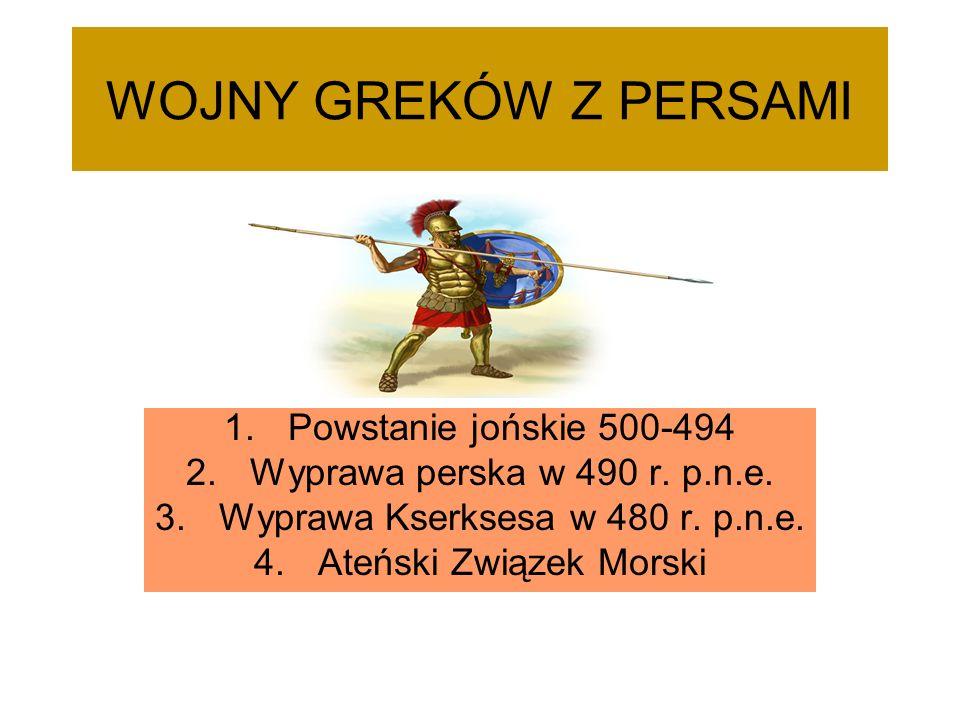 WOJNY GREKÓW Z PERSAMI Powstanie jońskie 500-494